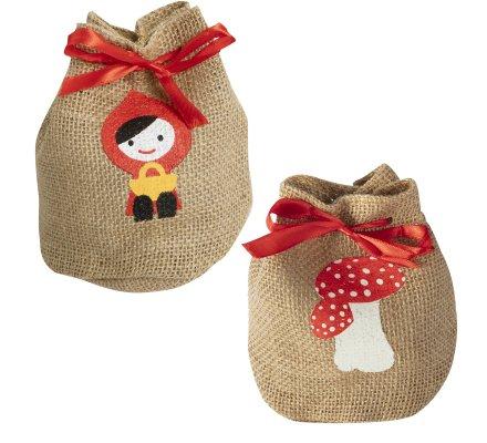 Lot de 2 petits sacs de Noël en toile de jute avec champignon et fillette 15cm