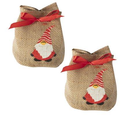 Lot de 2 petits sacs de Noël en toile de jute avec père Noël et noeud rouge 15cm