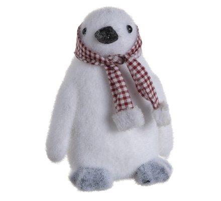 Lot de 3 figurines déco Noël 2 ours et un pingouin avec écharpes et bonnets vichy 21cm