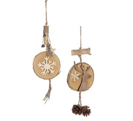 Lot de 2 suspensions déco Noël naturel en bois avec renne et flocon blanc H38cm