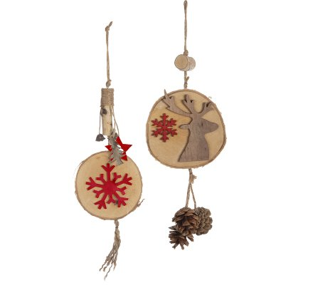 Lot de 2 suspensions déco Noël naturel en bois avec renne et flocon rouge H38cm
