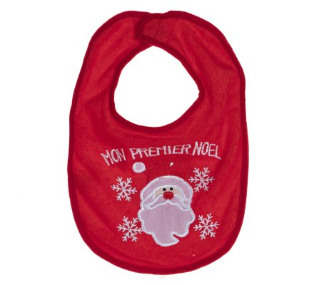 """Bavoir bébé """"mon premier Noël"""" rouge avec père Noël"""
