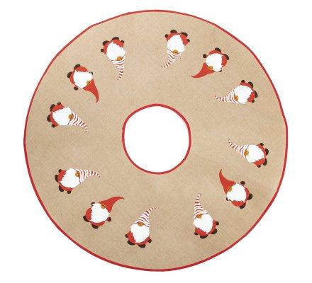 Jupe de sapin, couvre-pied en toile de jute avec père Noël D100cm