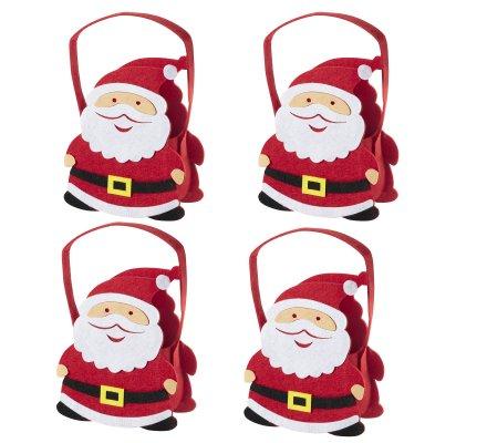 Lot de 4 petits sacs père Noël, paniers de Noël en feutrine 25cm