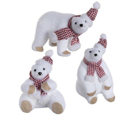 Lot de 3 ours polaires figurines déco Noël avec écharpe et bonnet vichy 24cm