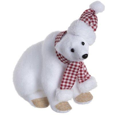 Lot de 2 ours polaires figurines déco Noël avec écharpe et bonnet vichy 24cm
