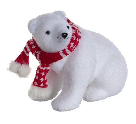 Lot de 2 ours polaires et 1 ecureuil figurines déco Noël avec écharpe rouge 24cm