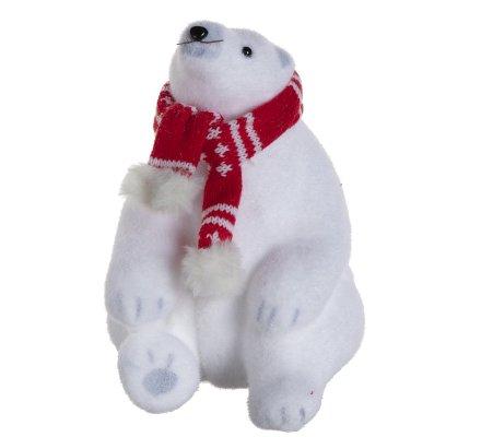 Lot de 2 ours polaires figurines déco Noël avec écharpe rouge 24cm