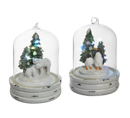 Lot de 2 cloches en verre déco à LED avec ours polaire et pingouin 14cm