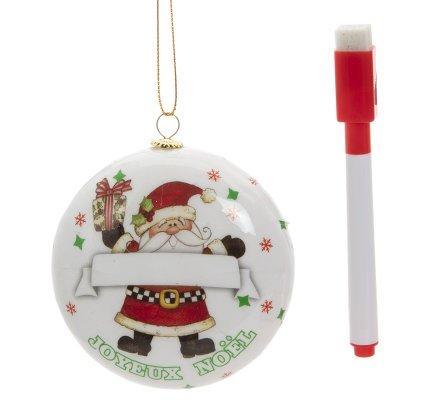 Lot de 2 boules de Noël personnalisables avec feutre coloris blanc