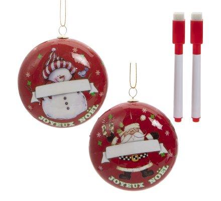 Lot de 2 boules de Noël personnalisables avec feutre coloris rouge