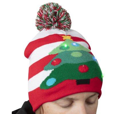 Bonnet de Noël tricot avec LED