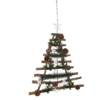 Sapin de Noël déco nature bois et pommes de pin à suspendre H 60cm