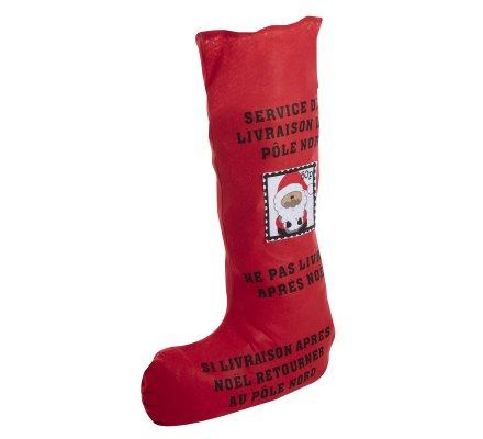 Chaussette hotte du père Noël en tissu rouge H 100cm