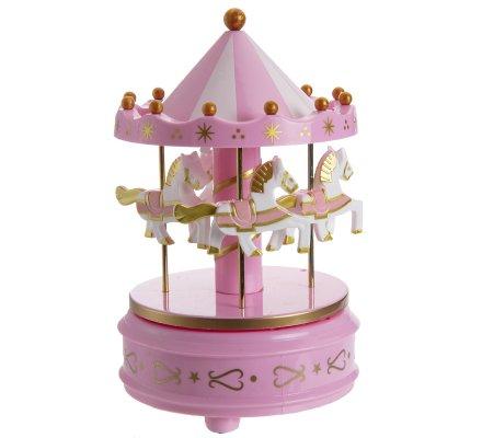 Carrousel musical et lumineux Led changeantes 18,5cm coloris rose