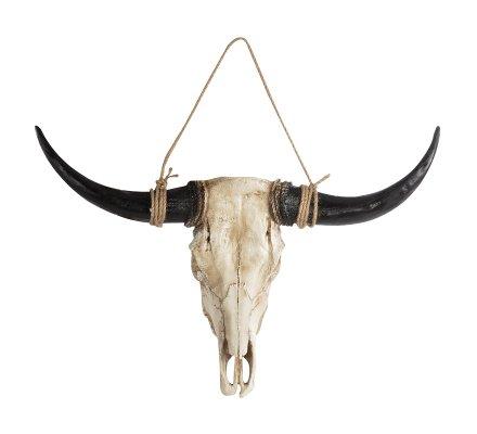 Décoration crâne de taureau à suspendre en résine 80cm