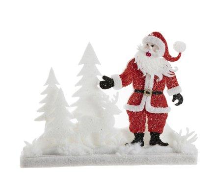 Décoration scène de Noël en mousse Père Noël forêt L41cm