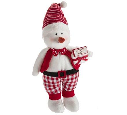 Figurine déco bonhomme de neige peluche debout H 50cm