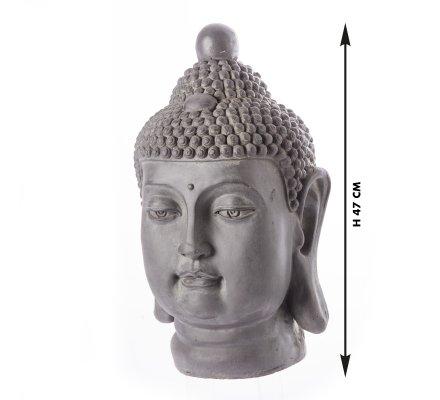 Statue déco Tête de Bouddha en résine coloris noir intérieur et extérieur H47cm x L 26cm x l 29cm