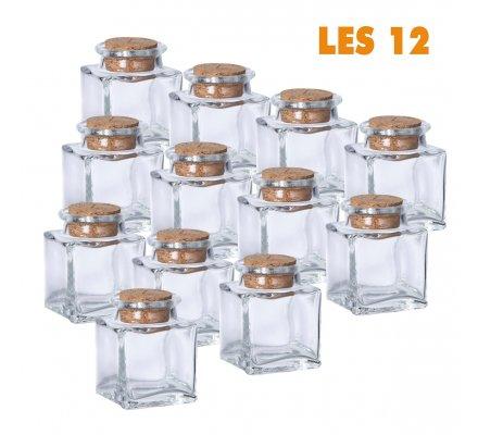 Lot de 12 mini pots carrés déco de table bouchon liège
