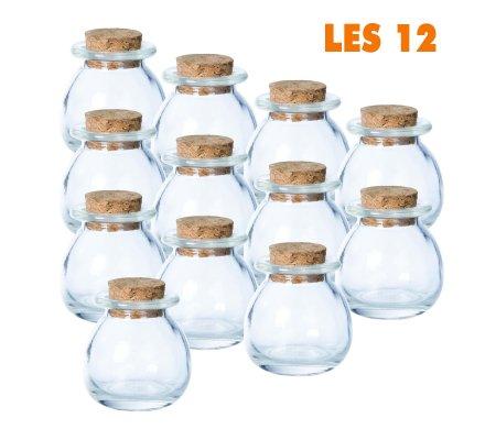 Lot de 12 mini pots ronds déco de table bouchon liège