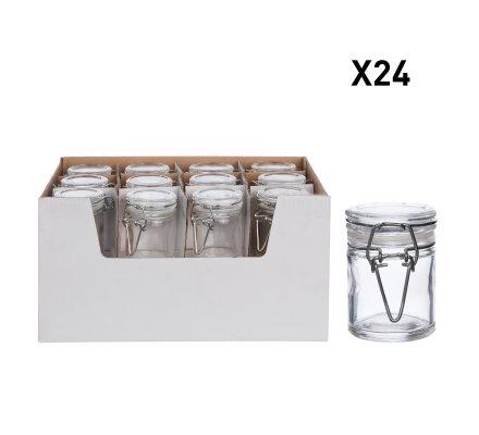 Lot de 24 mini pots déco de table cylindriques avec fermoir hermétique (h)6,1x(d)4,5cm