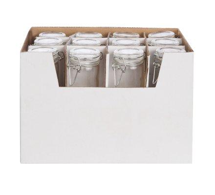Lot de 24 mini pots déco de table cylindriques avec fermoir hermétique clip jar (h)8,3x(d)4,5cm