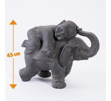 Statue déco enfant sur élephant en fibre d'argile pour extérieur H45cm x L55cm x l26cm