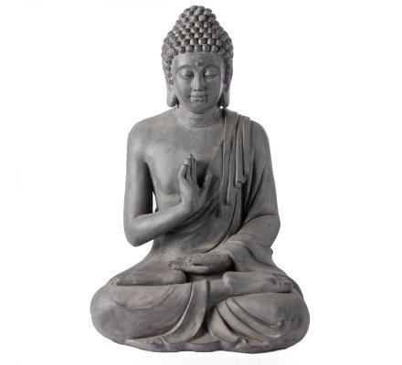Statue Bouddha grand modèle en méditation déco intérieure ou extérieure noir 75x50x40cm