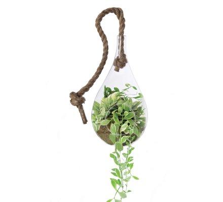 Vase suspendu, terrarium forme goutte avec corde (h)25x(d)12cm