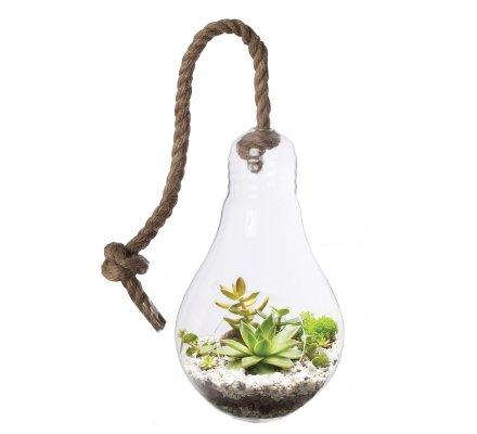 Vase suspendu, terrarium forme ampoule avec corde (h)25x(d)15cm
