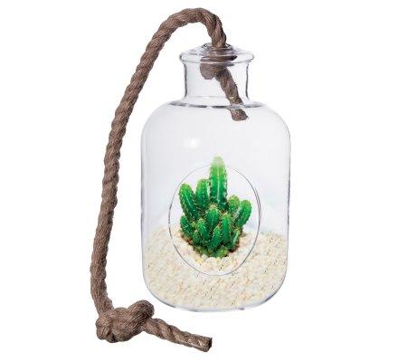 Vase suspendu, terrarium forme bouteille jarre avec corde (h)22x(d)10cm