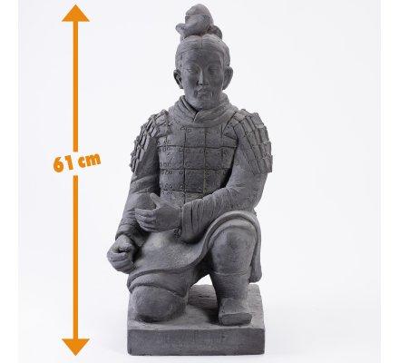 Statue déco extérieur Soldat Ming en terre cuite H61cm x L31cm x p28cm