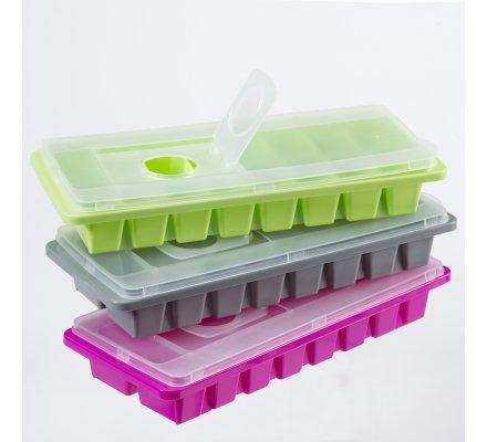 Lot de 3 bacs à glaçons avec couvercle et système de remplissage facile 48 glaçons 3 coloris