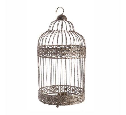 Cage décorative à paillettes dorée photophore pour bougie chauffe-plat H40cm