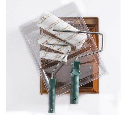 Lot de 3 rouleaux pour peinture avec bac rigide, recharge et manches 8 pièces
