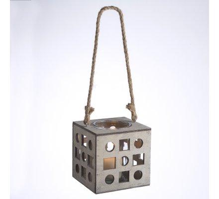 Lanterne photophore cube en bois à suspendre avec corde H 46cm