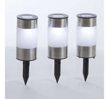Lot de 3 lampes solaires LED, bornes de jardin à planter 21cm