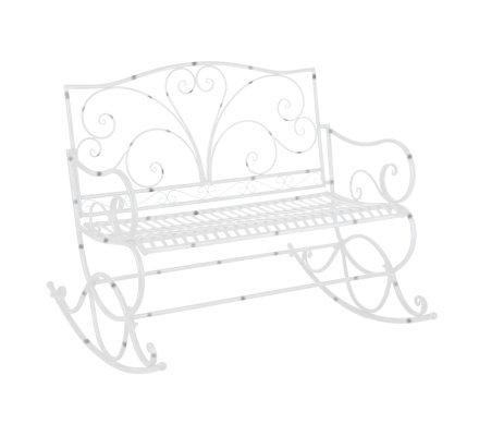 Banc à bascule, double rocking chair de jardin en acier finition époxy blanc moucheté 113x93x99cm