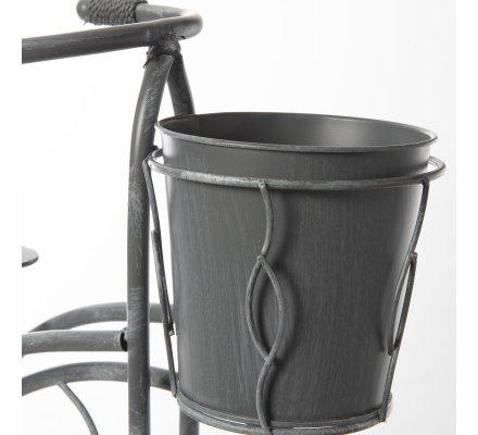 Velo, bicyclette déco de jardin en métal avec 2 jardinières, cache-pots gris cérusé H58cm