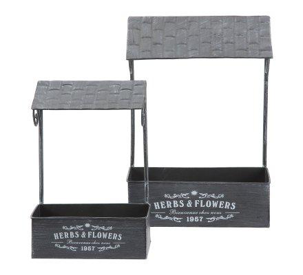 Lot de 2 supports muraux, jardinières déco à accrocher en métal gris 2 tailles
