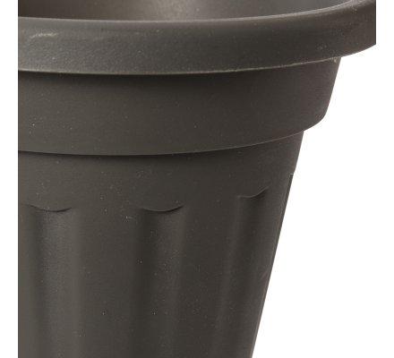 Jardinière, balconnière pot rond en plastique D 19,5cm coloris anthracite