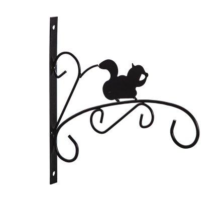 Patère en métal noir pour jardinière, corbeille à suspendre motif écureuil
