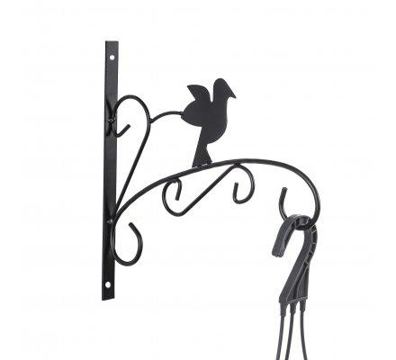 Patère en métal noir pour jardinière, corbeille à suspendre motif oiseau
