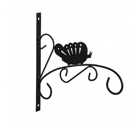 Patère en métal noir pour jardinière, corbeille à suspendre motif papillon