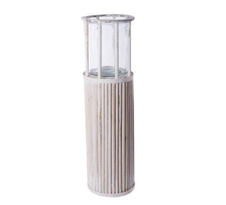 Photophore colonne design en bois blanc avec pot en verre H58cmxD17cm