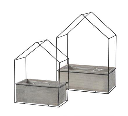 Lot de 2 pots de fleur, jardinières design industriel en forme de maison intérieur plastifié