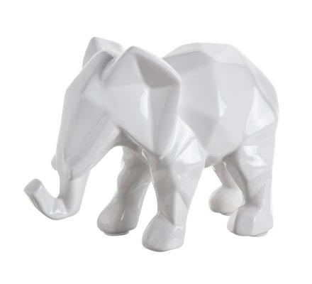 Statue, figurine déco éléphant désign en céramique blanc 22cm