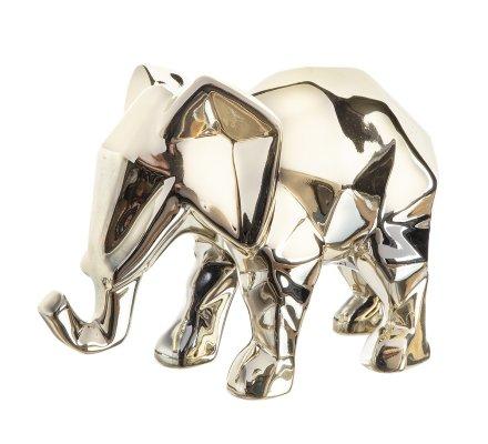 Statue, figurine déco éléphant désign en céramique doré 22cm