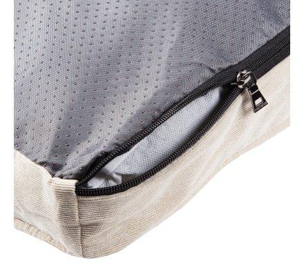 Tapis, coussin pour chien déhoussable dessous antidérapant 75x58cm coloris beige et gris